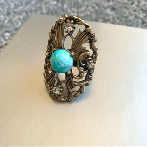 Free People Turquoise CZ Dome Festival Ring